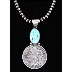 Navajo Kingman Turquoise Morgan Dollar Necklace