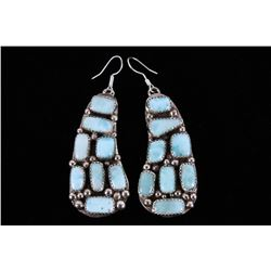 Navajo B. Lee Larimar Sterling Silver Earrings