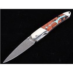 Vein Turquoise & Raindrop Damascus Knife