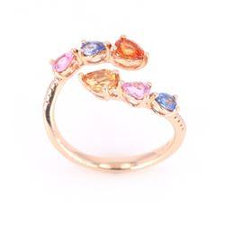 Multi-Colored Sapphire & Diamond 14K Ring