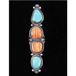 Navajo Kingman Turquoise & Spiny Oyster Ring