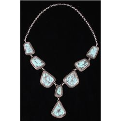 Navajo B. Lee Number 8 Turquoise & Silver Necklace