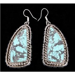 Navajo B. Lee Number 8 Turquoise & Silver Earrings