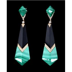 Great Gatsby Malachite & Onyx Diamond Earrings