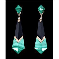 Great Gatsby Malachite & Onyx Diamond Earrings