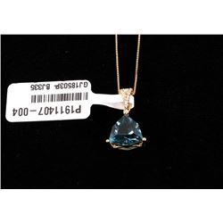 London Blue Topaz & Diamond 14K Necklace