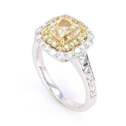 RARE VVS2 Fancy Yellow Diamond 2.02ct in 18K Ring