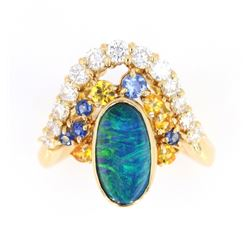 Australian Lightning Ridge Opal 18K Gold Ring
