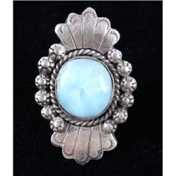 Navajo A. Johnson Larimar & Sterling Silver Ring