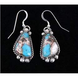 Navajo White Buffalo, Turquoise & Copper Earrings
