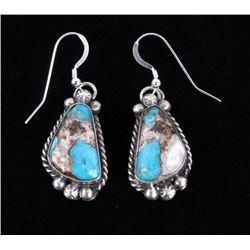 Navajo White Buffalo, Turquoise & Copper Earrings