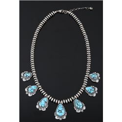 Navajo Egyptian Turquoise & Sterling Necklace