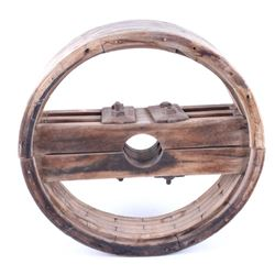 Late 1800's Wooden Flat Belt Pulley Wheel