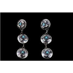 Navajo TY Sterling & Kingman Turquoise Earrings