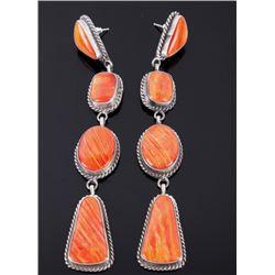 Navajo Elouise Kee Spiny Oyster Sterling Earrings
