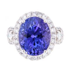 Deep Violet Blue Tanzanite AAA 9.53 ct. PT950 Ring