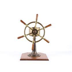 John Hastie Brass & Oak 6 Spoke Yacht Wheel