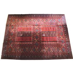 Turkeman Persian Hand Knotted Area Wool Rug 1900's