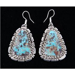 Navajo B. Lee Apache Turquoise & Sterling Earrings
