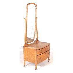 Early 1900 Birdseye Figured Wooden Mirror Dresser