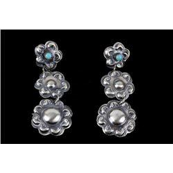 Navajo Tim Yazzie Sterling & Turquoise Earrings