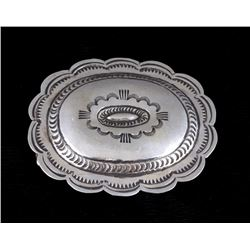 Navajo Carson B. Sterling Silver Belt Buckle