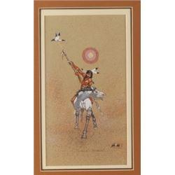 "Original T. Mitchell Painting ""Lance-Bearer"" 1985"