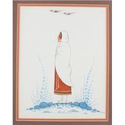 Kiowa Gouache Painting Woody Big Bow c1914-1988