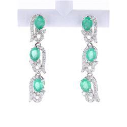 Green Emerald, Diamond 14K Dangle Earrings