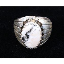 Navajo Alvery Smith White Buffalo & Sterling Ring