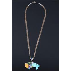 Zuni Mosaic Inlaid Silver Buffalo Pendant Necklace