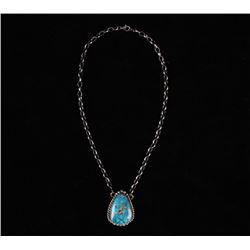 Navajo B Lee Sterling & Kingman Turquoise Necklace