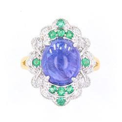 Tanzanite (7.28ct) Emerald & Diamond 18K Ring