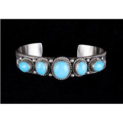 Signed Navajo Sterling & Kingman Turquoise Cuff