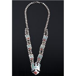Navajo Chip Inlay Turquoise & Coral Necklace