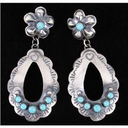 Navajo Yazzie Royston Turquoise & Silver Earrings