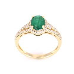 Natural Emerald Oval Cut with Diamonds in 10K Ring