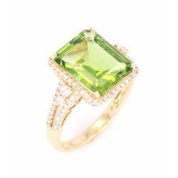 Green Tourmaline and Diamond 14K Ring