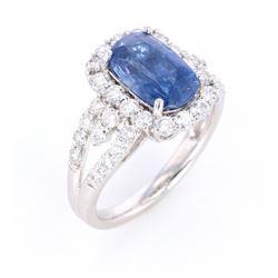 Natural Blue GIA Sapphire & VS2 Diamond Ring