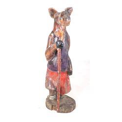 Folk Art Hiking Moose Carved Wooden Statue