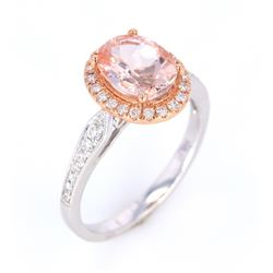 Morganite and Diamond 14K Rose and White Gold Ring