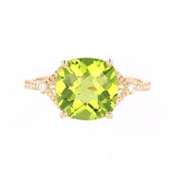 Green Peridot & Diamond 14K Gold Ring