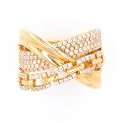Modern Designer 14K Gold Ring set with Diamonds