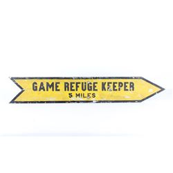 Original Montana Game Refuge Keeper 5 Miles Sign