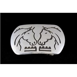 Navajo Sterling Silver Overlay Belt Buckle