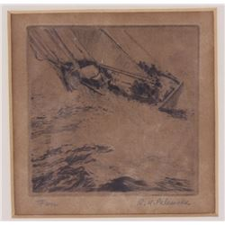 "Original Etching ""Fish"" by Reinhold H. Palenske"