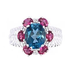 London Blue Topaz & Pink Topaz 14K Ring