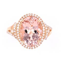 Morganite (5.30ct) & Diamond 14K Rose Gold Ring