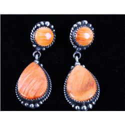 Navajo E Kee Orange Spiny Oyster Sterling Earrings