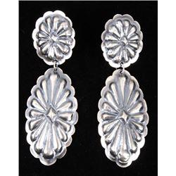 Navajo Yazzie Sterling Silver Repoussé Earrings